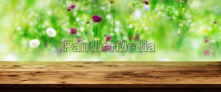 table with flower meadow background