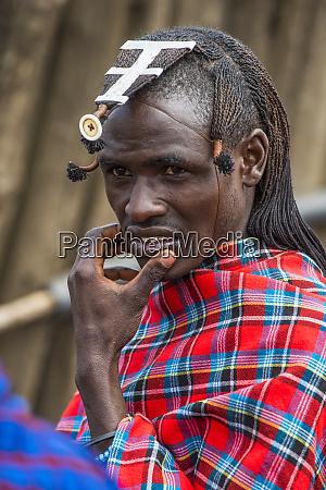 retrato do guerreiro de maasai com
