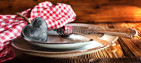 rustic table setting with a heart
