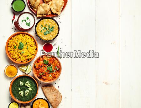 alimento indiano e pratos indianos da