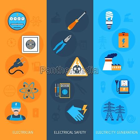 banners verticais planos de eletricidade definidos
