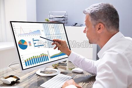 empresario analisando graficos no computador