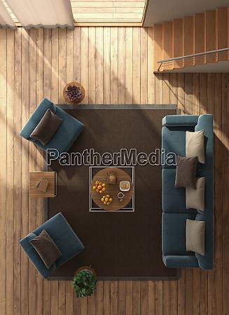 vista superior de uma sala de