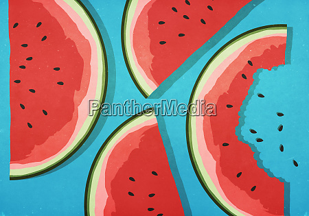 fatias suculentas de melancia no fundo