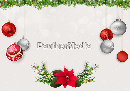 christmas background with xmas balls and