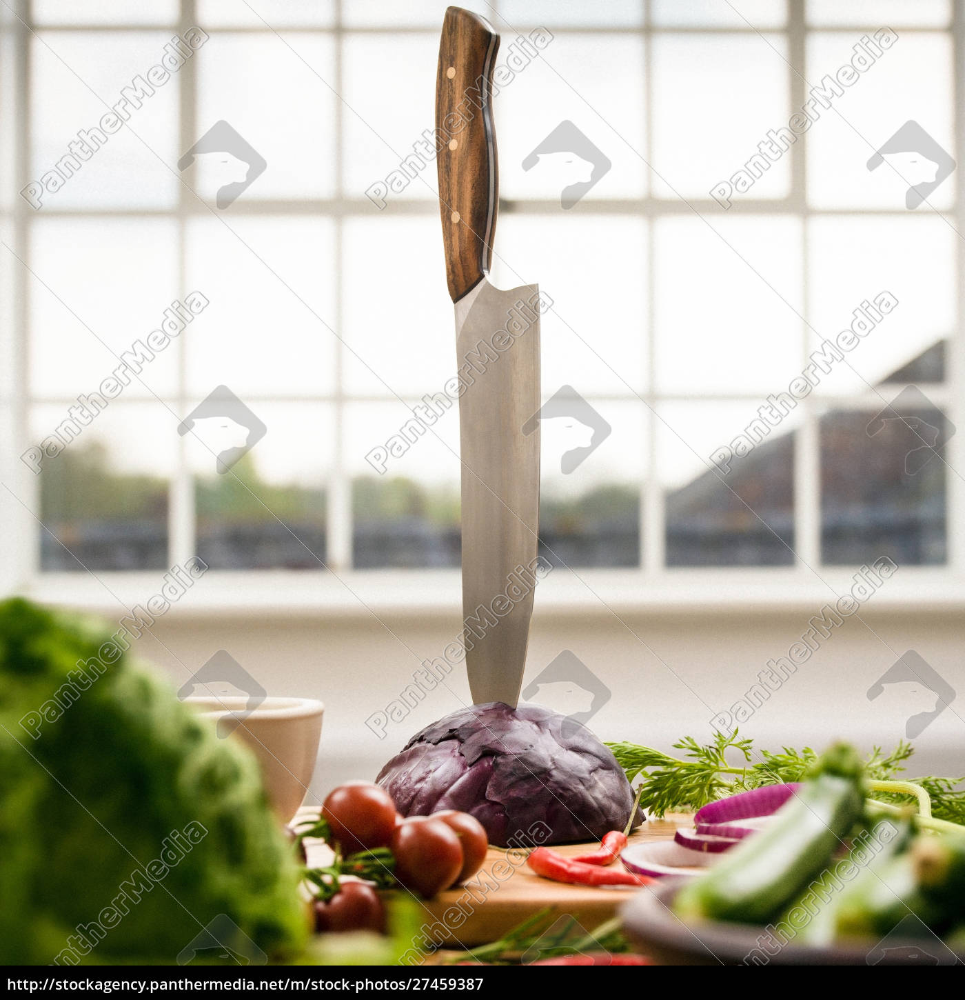 kitchen, knife, stuck, in, red, cabbage - 27459387