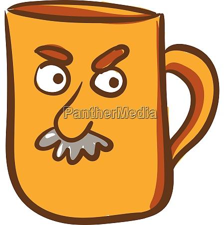 a yellow color mug with angry
