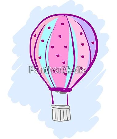 a pink hot air balloon vector