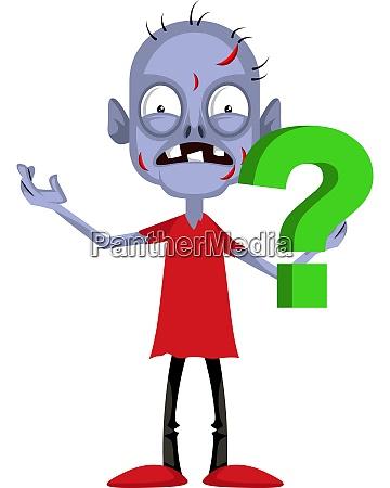 zombie com ponto de interrogacao ilustracao