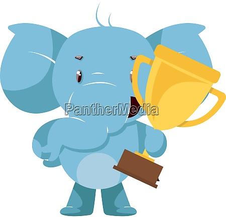 elefante com trofeu ilustracao vetor no