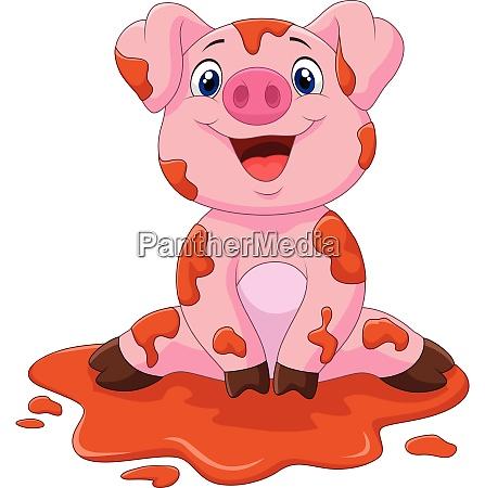 porco bebe fofo de desenho animado