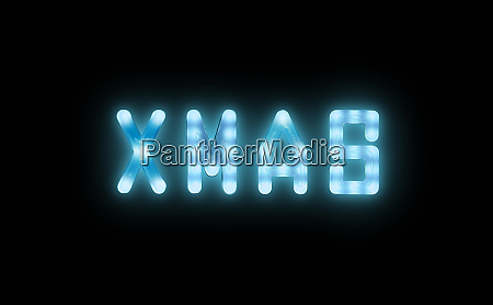 blue neon glowing led xmas sign