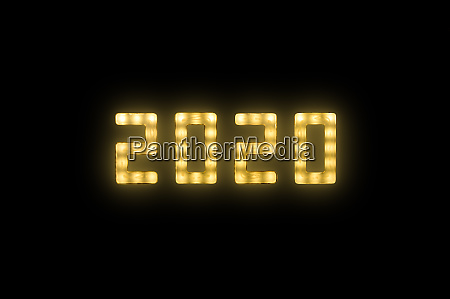 yellow, neon, glowing, led, 2020, sign - 27628945