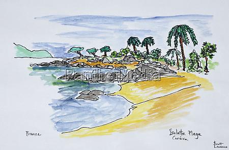 coastline along isolella beach ajaccio corsica