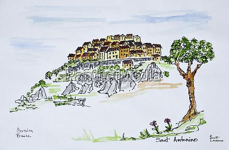 hilltop village of santantonino corsica france