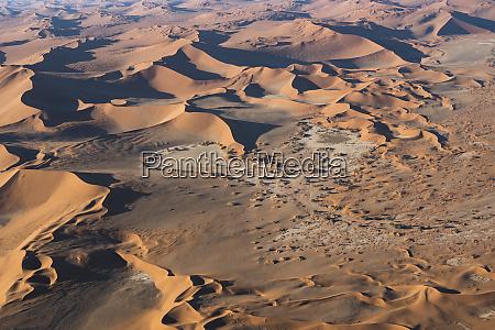 aerial view over sossusvlei sand dunes
