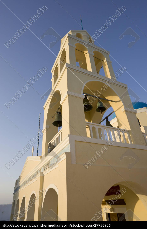 grécia, santorini, thira, oia., fachada, amarela, e, torre, de - 27756906