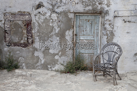 greece santorini old building chair and