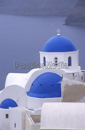 greece santorini oia blue domed church