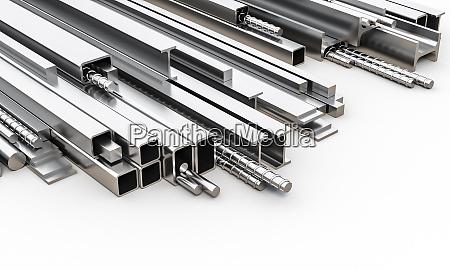 perfis metalicos de diferentes tamanhos e