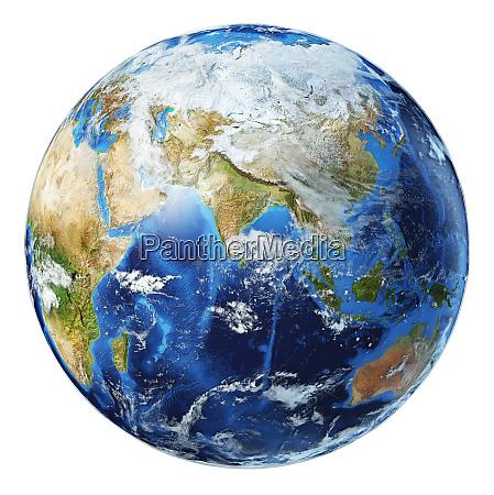 ilustracao 3d do globo terrestre vista
