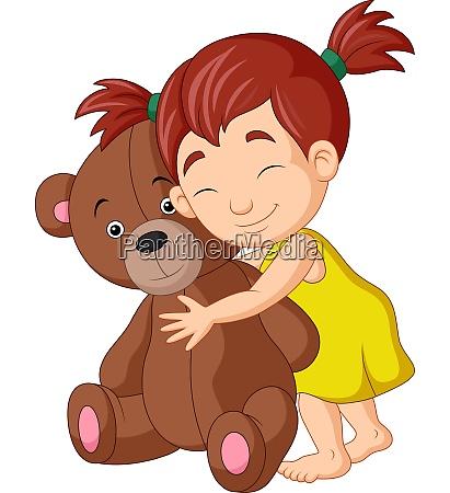 menina de desenho animado abracando ursinho