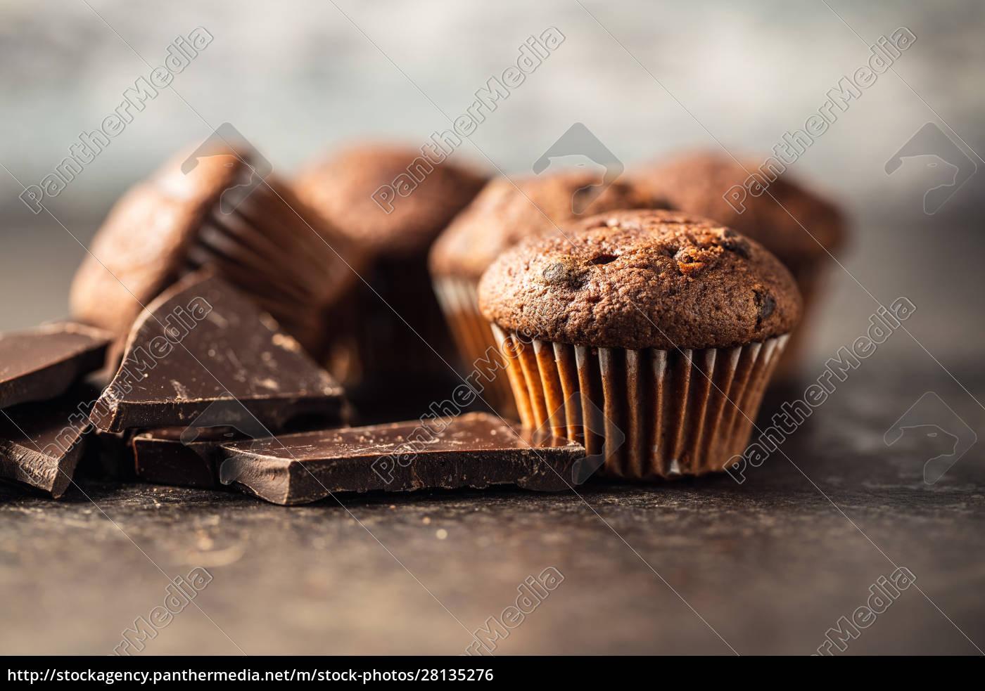 bolinhos, de, chocolate, saborosos., cupcakes, doces. - 28135276