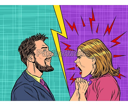 homem e mulher disputar emocoes gritar