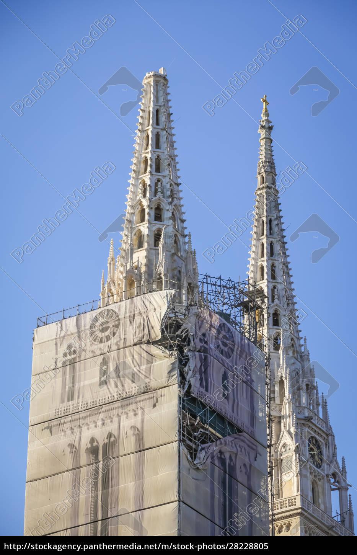 zagreb, atingido, pelo, terremoto, danificou, catedral - 28228805