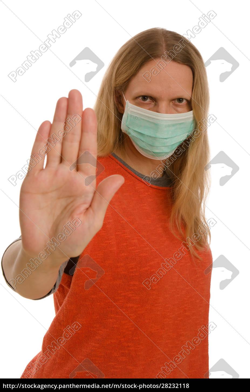 mulher, com, proteção, bucal, e, máscara - 28232118