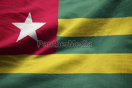 close up de bandeira de togo