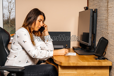 businesswoman working from comfort of her