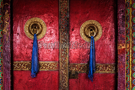 door of spituk monastery ladakh india
