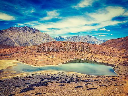 dhankar lake in himalayas dhankar spiti