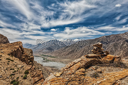 view of valley in himalayas with