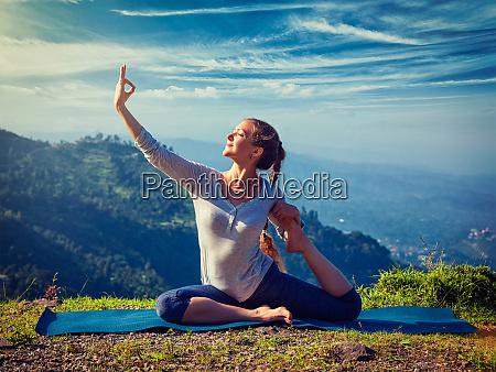 sorty fit woman doing yoga asana