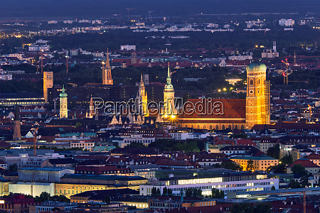 night aerial view of munich germany