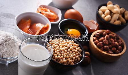 composicao com alergenos alimentares comuns incluindo