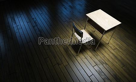 mesa da escola tradicional no chao