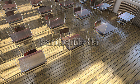 escola com mesas de madeira e