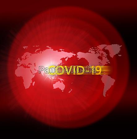 mapa do mundo vermelho com placa