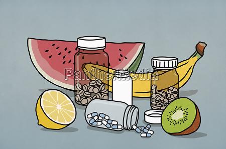 garrafas, de, frutas, e, medicamentos, para - 28722827