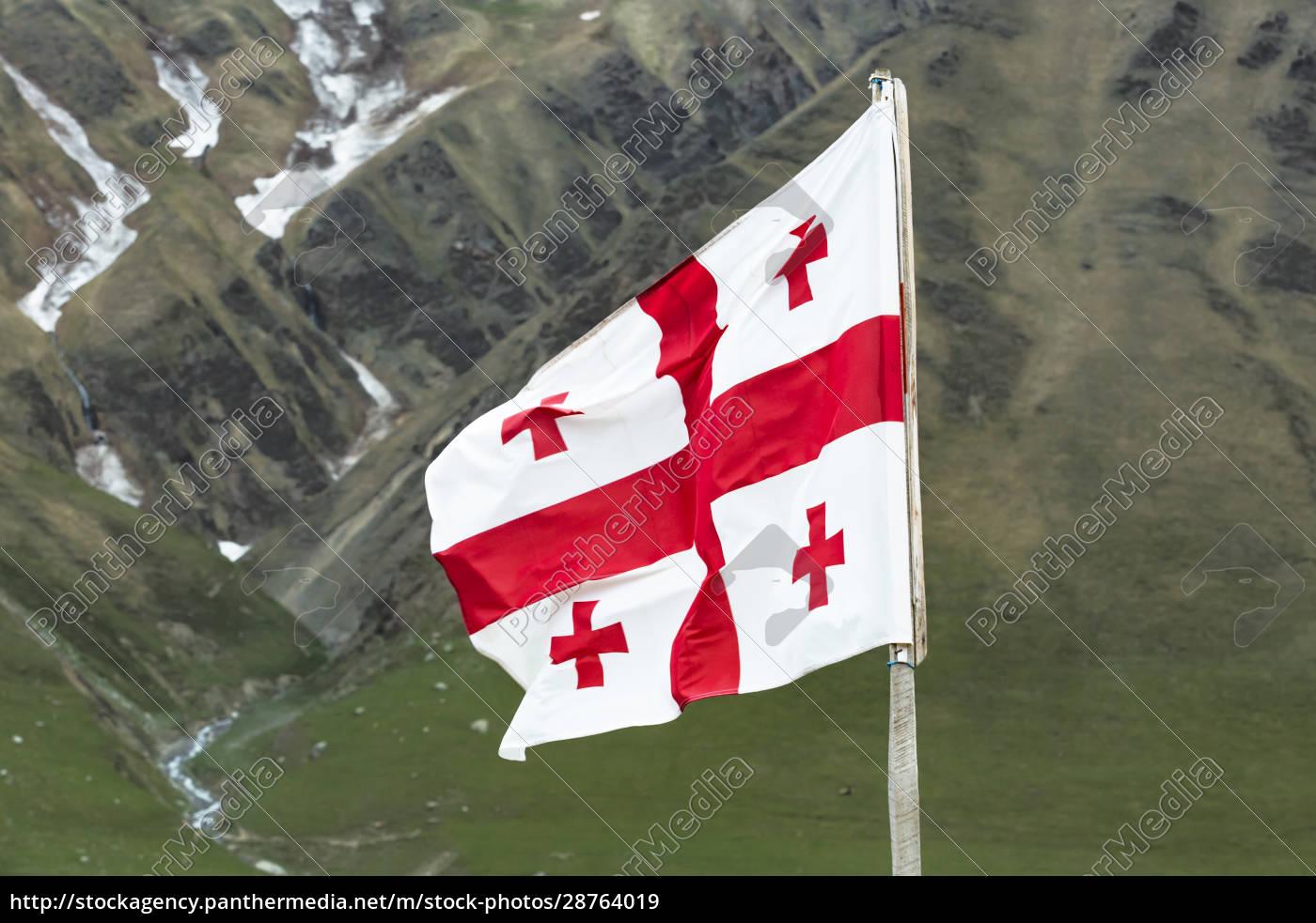 georgia, , svaneti, , ushguli, , georgian, national, flag - 28764019