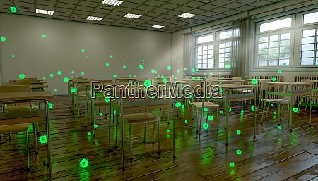aula escolar tradicional com ilustracao do