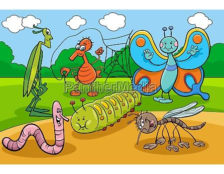 insetos felizes e bugs grupo personagens
