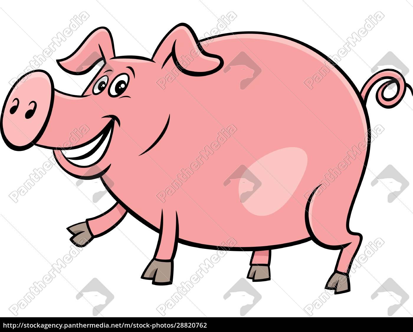 feliz, porco, fazenda, animal, personagem, ilustração - 28820762