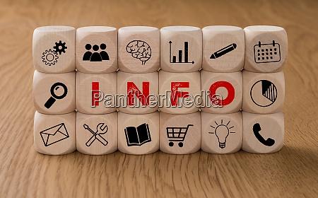 dados com icones e a palavra