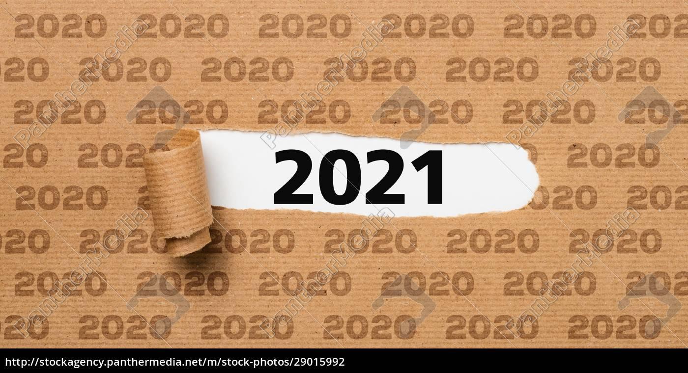 papel, rasgado, revelando, o, número, 2021 - 29015992