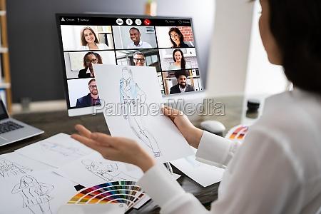 chamada de videoconferencia online do designer