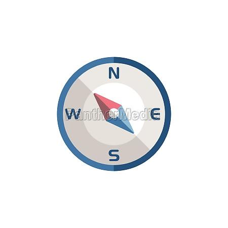 bussola sentido noroeste Icone plano ilustracao